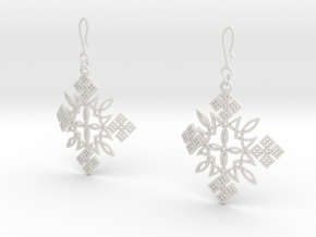 Habesha Cross Earrings 70 Degree Bended in White Natural Versatile Plastic