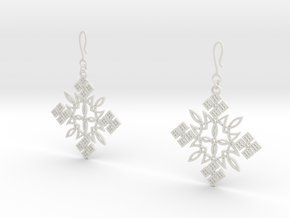 Habesha Cross Earrings in White Natural Versatile Plastic