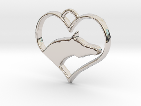 Arabian Horse Heart in Rhodium Plated Brass