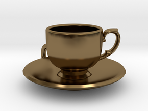 Tea Cup Pendant in Polished Bronze