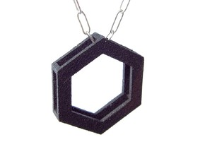 Simple Hexagon Pendant in Matte Black Steel