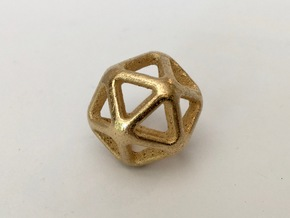 Twenty Sided Wireframe Die in Polished Gold Steel
