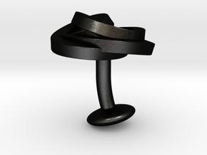 Air and water Cufflinks  in Matte Black Steel