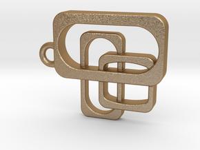 Mid Century Modern Pendant - Interlocking Rectangl in Matte Gold Steel