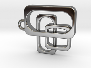 Mid Century Modern Pendant - Interlocking Rectangl in Fine Detail Polished Silver