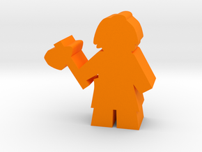 Game Piece, Caveman with Axe in Orange Processed Versatile Plastic