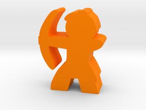 Game Piece, Caveman with Bow in Orange Processed Versatile Plastic
