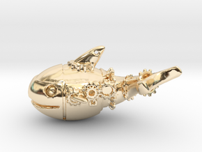 Pottwal-Steampunk in 14k Gold Plated Brass