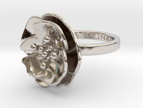 Cherry Blossom Ring in Rhodium Plated Brass: Small