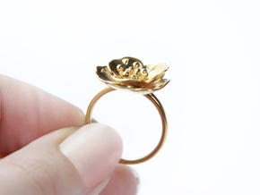 Cherry Blossom Ring in 18k Gold Plated Brass: Medium