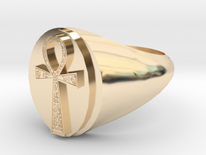 Ankh Ring size Y/12 in 14k Gold Plated Brass