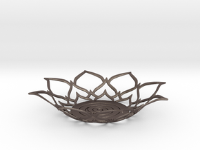 Lotus Tealight Holder in Polished Bronzed Silver Steel