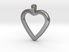 Classic Heart Pendant in Natural Silver