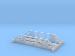 Four Wheel Flat Car Frame in Smooth Fine Detail Plastic