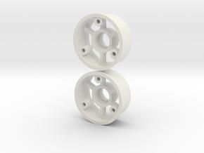 """2WD - Jantes """"No glue !"""" - Offset 1 in White Premium Versatile Plastic"""