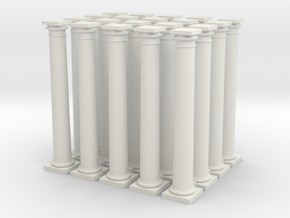 20 Doric Columns 35mm high (HO) Scaled in White Natural Versatile Plastic