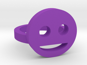 Smiley Face Ring Size 7 in Purple Processed Versatile Plastic