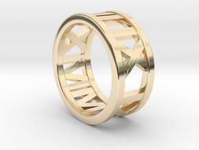 Customized roman numbers ring in 14K Yellow Gold