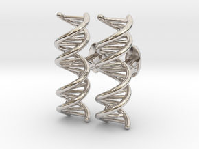 Small DNA Cufflinks in Rhodium Plated Brass