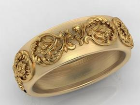 Antique pattern band in Matte Gold Steel