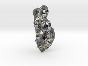 Jomon style pendan top in Polished Silver