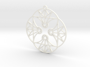 DoodleFan Earring or Pendant (Circle) in White Processed Versatile Plastic