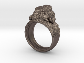 Aggressive Chimpanzee Ring in Polished Bronzed Silver Steel: 9 / 59