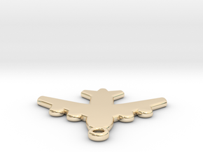 Flat Airplane Charm in 14K Yellow Gold