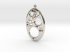 Oval Pendant 2 in Rhodium Plated Brass