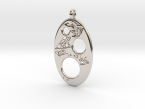 Oval 4 Pendant in Rhodium Plated Brass