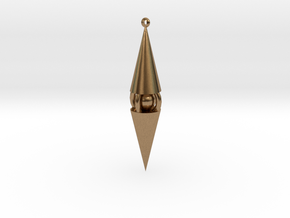 Enclosed Sphere Pointed Pendant in Natural Brass