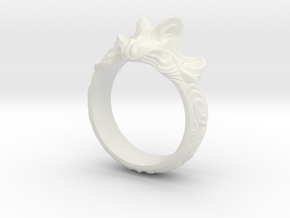 Sweeping waves ring abstract in White Premium Versatile Plastic: 6 / 51.5