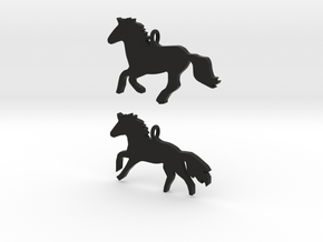 Horses earrings in Black Premium Versatile Plastic: 28mm