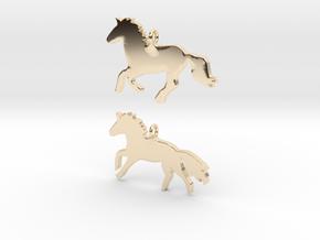 Horses earrings in 14k Gold Plated Brass: 28mm
