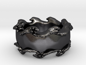 Tsunami ring in Polished and Bronzed Black Steel: 12 / 66.5