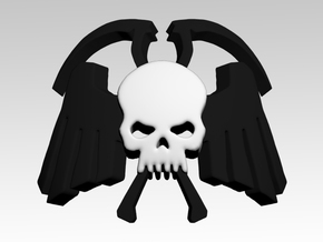 Winged Skull & Scythes Shoulder Icons x50 in Smooth Fine Detail Plastic
