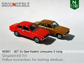 SET 2x Opel Kadett Limousine (N 1:160) in Smooth Fine Detail Plastic