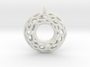Circle Mesh Pendant 1 in White Natural Versatile Plastic