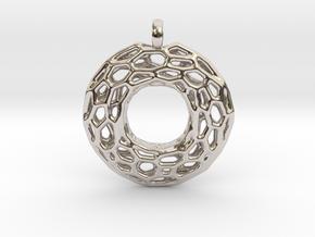 Circle Mesh Pendant 1 in Platinum
