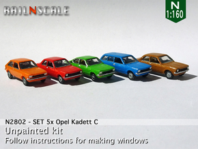 SET 5x Opel Kadett C (N 1:160) in Smooth Fine Detail Plastic