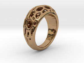 Ring Voronoi #2  in Polished Brass