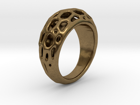 Ring Voronoi #2  in Natural Bronze