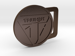 Triumph Motorcycle Round Belt Buckle in Polished Bronze Steel