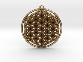"Super Flower of Life (One Sided) Pendant 1.5"" in Polished Gold Steel"