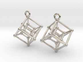 Hypercube Earrings in Rhodium Plated Brass