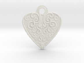 heart keychain/pendant in White Natural Versatile Plastic