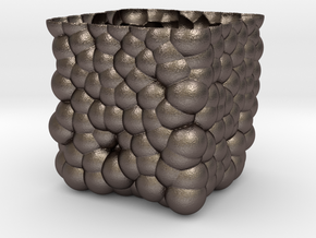Cubic Bubbly Vase in Polished Bronzed Silver Steel