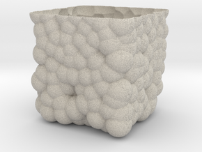 Cubic Bubbly Vase in Natural Sandstone