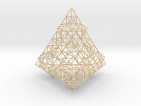 Wire Fractalised Tetrahedron in 14K Yellow Gold