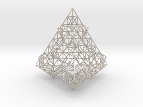Wire Fractalised Tetrahedron in Rhodium Plated Brass